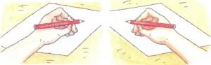 Правильное положение тетради во время письма